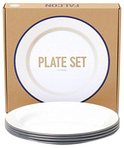 Genuine Falcon Enamelware Plate Set (Pigeon Grey)