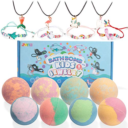 Bath Bombs with Kids Jewelry, 8 Packs Bubble Kids Bath Bombs with Surprise Toy Inside, Girls Necklaces & Bracelets for Kids Birthday Gift, Natural Essential Oil SPA Bath Fizzies Set