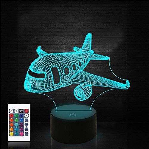 Luz nocturna LED 3D, lámpara de ilusión de avión 16 colores cambiantes lámpara de escritorio para niños Navidad cumpleaños regalos decoración del hogar