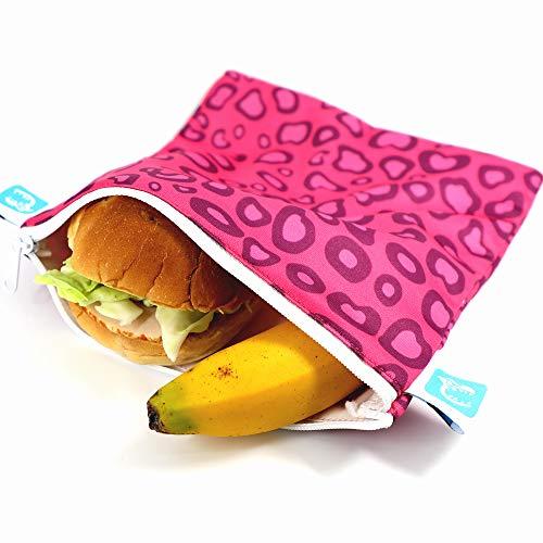 Crazy Safety - Bolsa reutilizable para sándwiches - Paquete de 3 bolsas de almuerzo lavables de doble capa - Aptas para lavavajillas - Envoltorios de tela ecológicos - Cremallera de fácil apertura