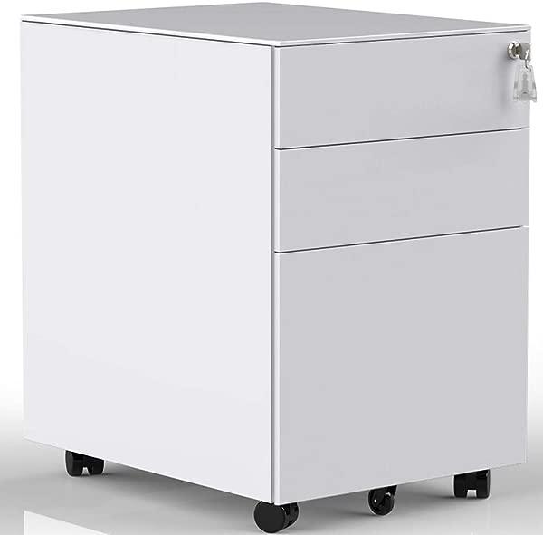 3 个抽屉移动文件柜带锁桌面文件柜带轮子完全组装白色