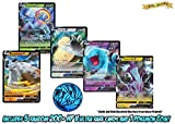 5 Assorted Pokemon Cards - Includes 5 Assorted Sword and Shield V Rares (200 HP or Higher), 1 Assorted Pokemon Coin, and Golden Groundhog Deck Storage Box