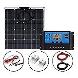 Kit solar panel solar monocristalino solar flexión panel solar fotovoltaico de alta eficiencia de conversión 12V 24V LCD controlador, 50W/30A