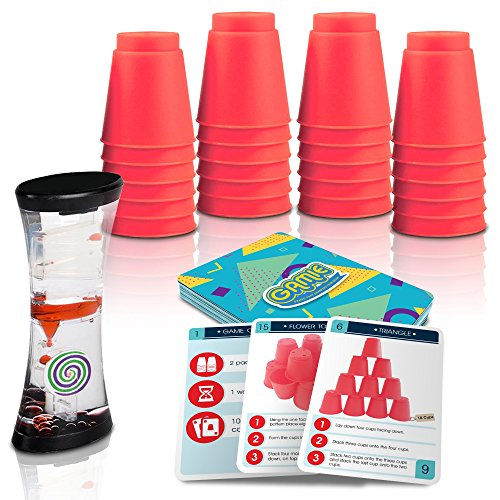 Gamie Stacking Cups Game with 18 Fun Challenges and Water Timer 24 Stacking Cups Sturdy Plastic Classic Family Game Great Gift Idea for Boys and Girls Tons of Fun