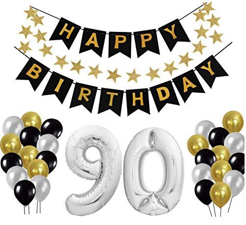 Geburtstag Dekoration Set, Deko Geburtstag, Geburtstagsdeko, Happy Birthday Dekoration. Zahlen Luftballons Silber XXL + 24 Große Geperlte Ballons + 1 Happy Birthday Banner (90)