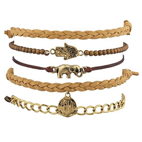 Lux Accessories Brown Woven Beaded Hamsa Evil Eye Elephant Love Arm Candy Bracelet Set