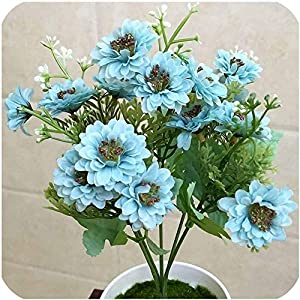 GzxLaY 15 Flowers Artificial Flowers Party Wedding Home Flowers for Decoration Silk Mini Daisy Fake Flower Artificial Plants,Red Lotus,Size:One Size,Color:Blue (Color : Blue, Size : One Size)