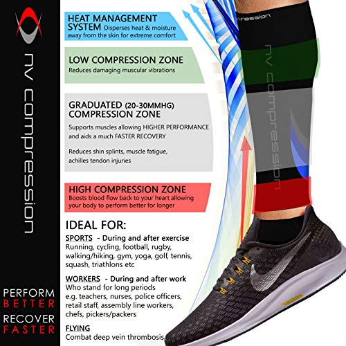 NV Compression Race and Recover Fußlose Kompressionsstrümpfe - Wadenstütze Kompression Compression Calf Sleeves - for Sports, Laufen, Radfahren, Triathlon, Crossfit, Gym, Tennis - 4