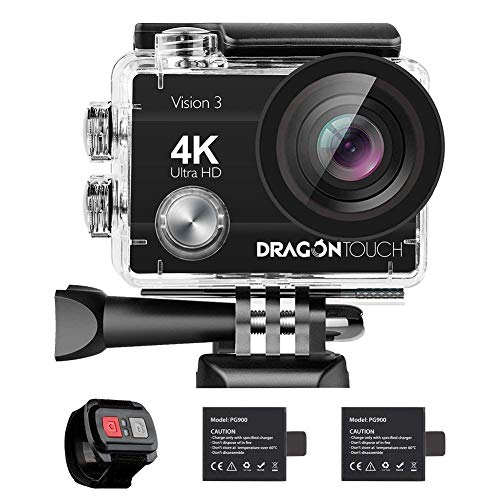 Dragon Touch 4K 16MP Action Camera, Underwater Waterproof Camera 170° Wide Angle WiFi Sports Cam with Remote 2 Batteries and Mounting Accessories Kit - Vision 3