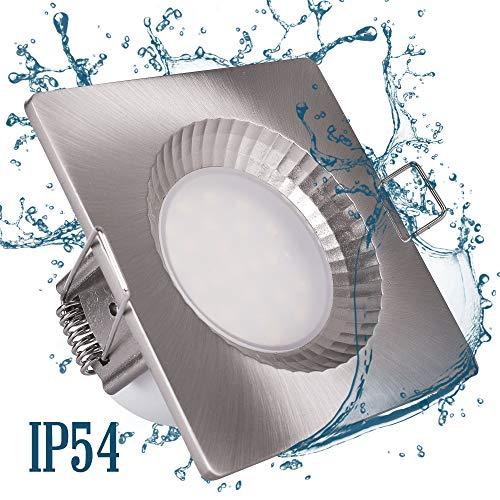 6x LED Badeinbaustrahler 5W eckig IP54 Feuchtraum Dusche Einbauspot Rostfrei Edelstahl Optik badezimmer Deckenspot Einbauspot