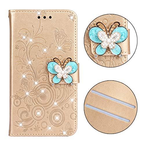 HH-Phone Case - Funda de piel para Galaxy J4 Plus, con ranuras para tarjetas, cartera y cordón, diseño de mariposas y flores, color morado