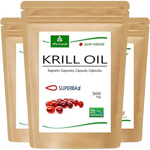 MoriVeda - Capsule di olio Superba Krill (diverse confezioni) - olio di krill premium con Omega 3,6,9, astaxantina esterificata, fosfolipidi, colina, vitamina E (3x60 capsule)