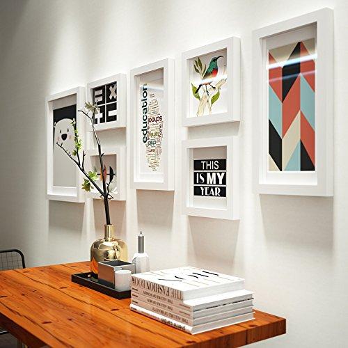 Anyi 7 Piezas de Blanco Moderno Minimalista Foto decoración de la Pared Sala de Estar Marco de Fotos Marco Creativo Pared