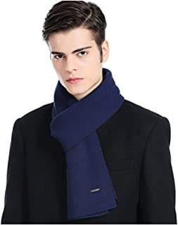 MUZIWENJU Pure Wool Scarf, Men's Scarf, Simple Atmosphere, Suitable for Winter (Three Colors Optional) (Color : Blue)