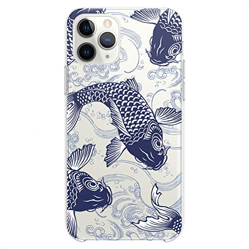 Cavka TPU Case Compatible with Apple iPhone 12 Mini 5G 11 Pro Xs Max X 8 Plus Xr 7 SE Cute Flexible Silicone Coi Ocean Design Waves Cute Girls Slim fit Japanese Teens Fishes Clear Print Blue Koi Soft