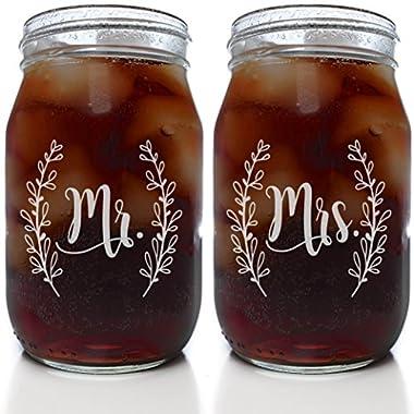 Mr & Mrs Mason Jar Set in Cute Script (Set of 2 Clear 16 oz. Mason Jar Glasses)