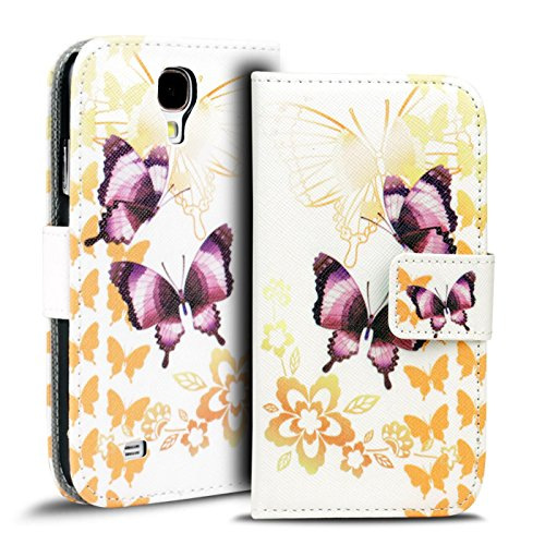 Conie PW33742 Print Wallet Kompatibel mit Samsung Galaxy S4 Mini, Motiv Klapphülle mit HD Druck Muster Etui für Galaxy S4 Mini Hülle Motiv Schmetterling