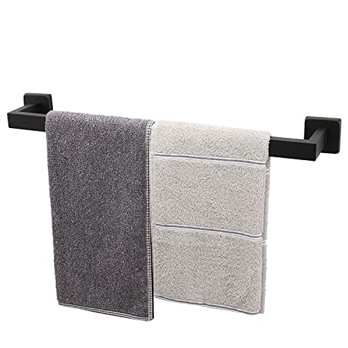 TocTen Bath Towel Rack - Square Base Thicken SUS304 Stainless Steel Towel Bar for Bathroom, Bathroom Accessories Towel Rod Heavy Duty Wall Mounted Towel Holder. (Black, 20)