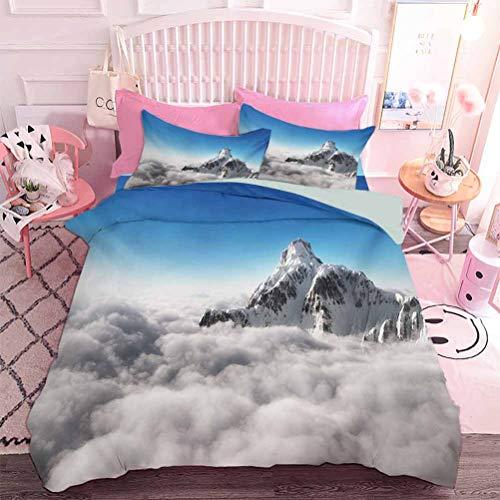 Juego de funda de edredón de 3 piezas, colección de ropa de cama de alta calidad sobre las nubes con fondo claro soleado cielo tierra es magia (3 piezas, tamaño king).