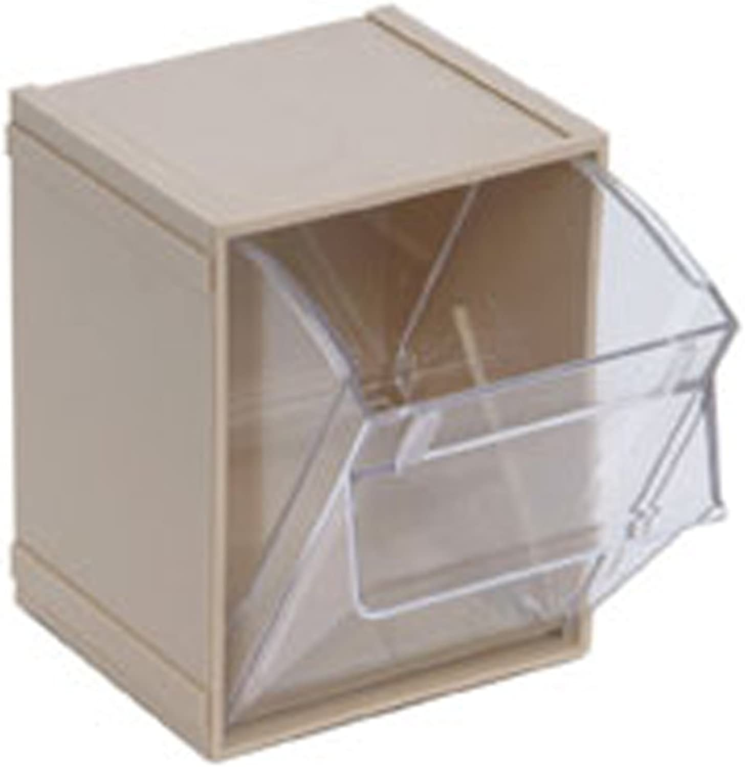 Quantum QTB405 Clear 4-Inch by 4-1 2-Inch by 8-1 8-Inch Tip Out Bin System, Ivory, Case of 5