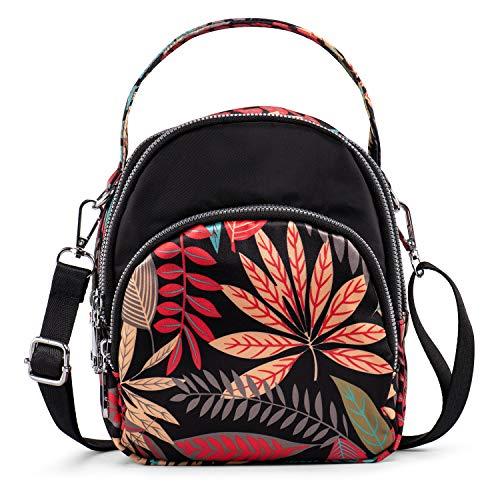 LaRechor Bolso Bandolera Pequeño con 3 Cremallera - Mini Mochila Mujer Bolso de Viaje Boda Noche - Bolsa de Hojas de Colores Elegante Ligero, 2 Correa