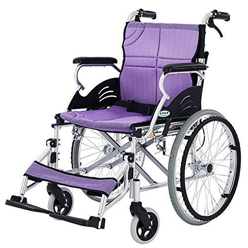 D-Q Autopropulsada plegable 11kg silla de ruedas con el frente y el freno de mano trasero sólido silla de ruedas de neumáticos cuadrícula de tela para, Discapacitados, los usuarios con discapacidad de