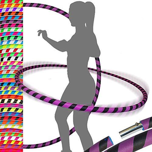 PRO Hula Hoops Reifen für Anfänger und Profis (Ultra-Grip) Faltbarer TRAVEL Hula Hoop ideal für Hoop Dance, Fitness Training, Zirkus, Festivals&Fun! - Größe 100cm/25mm∅, Gewicht 650g (Schwarz / Lila)