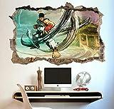 AUUUA Sticker mural Street Fighter Crack affiche murale enfants chambre papier peint vinyle autocollant autocollant Art