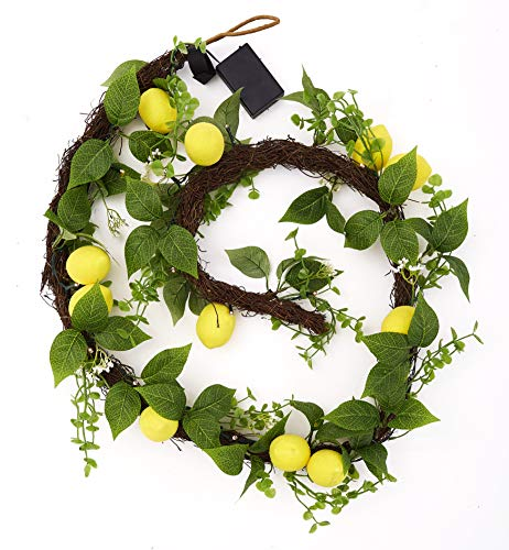 The Lakeside Collection Farm Fresh Lemon Lighted LED Garland with Faux Foliage - Hanging Wall Decor