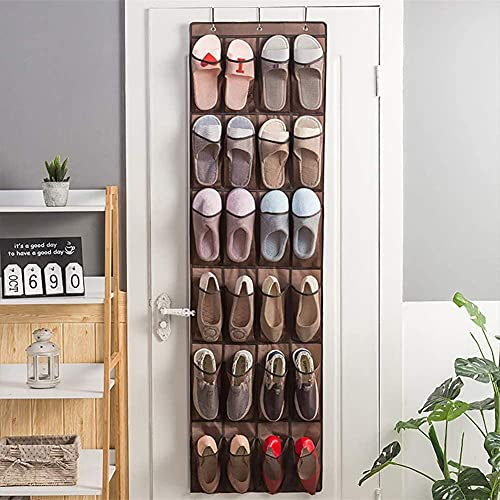 Thstheaven 24 bolsillos – Organizador de zapatos para colgar sobre la puerta, organizador de zapatos plegable para guardar zapatillas de hombre, zapatos de tacón alto, zapatillas, color marrón