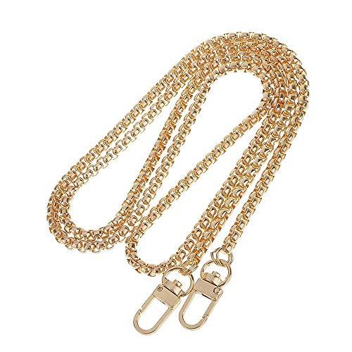 Ogquaton Cadena de metal para mujeres Bolsos Accesorios de cadena Bolsa Cadena Cinturón Hombro Mochila Mochila Cadena Cinturón Dorado 1 piezas