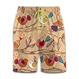 Cute Cartoon Bird Fun 3D Graphic Print Men's Board Shorts Quick Dry Swimsuit Beach Holiday Party White L