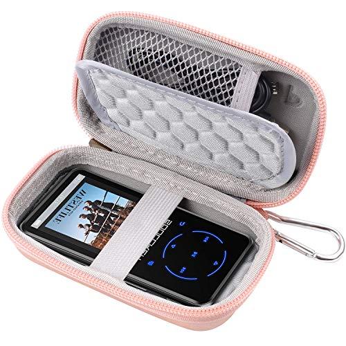 COMECASE - Funda para MP3, Victure/Soulcker/SVMUU/Ipod Shuffle & Nano con Bluetooth y otros reproductores de música, compatible con auriculares, cable USB, tarjeta de memoria (oro rosa)
