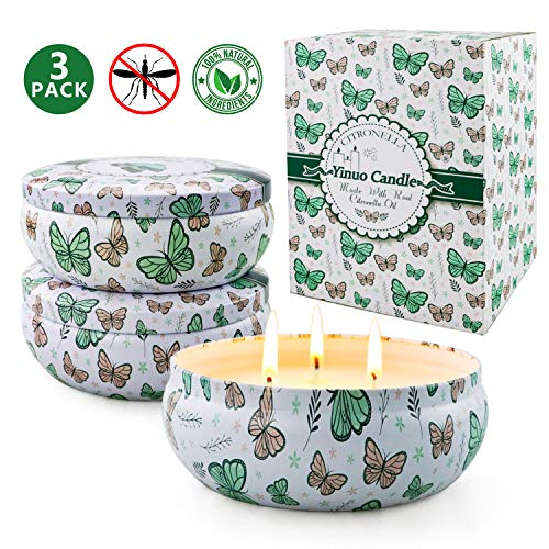Citronella Candles Outdoor, 13.5 Oz Large Citronella Scented Candles with Pure Lemongrass Essential Oil and Natural Soy Wax Outdoor Indoor, 3 Pack