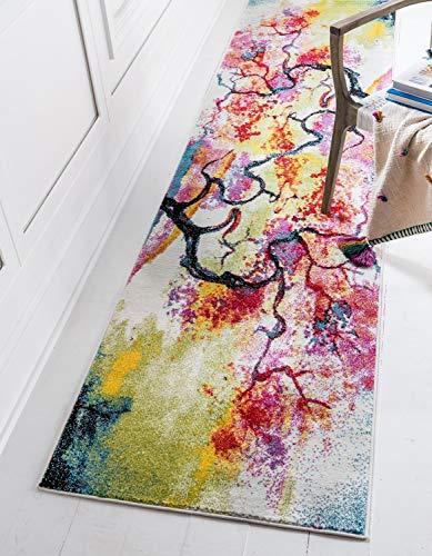 Unique Loom Lyon Tapis Moderne Abstrait - 6 x 1,8 m - Ivoire/Rose