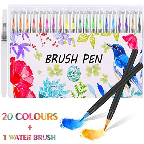 Firbon para pinceles para pinceles 20 colores + 1 Pincel de agua para dibujos a color, dibujos, caligrafía, letras