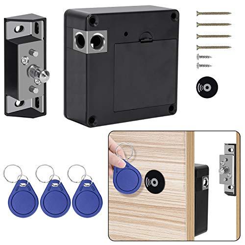 OCGIG Elektronisches Schrankschloss mit RFID-Karte und Tag-Eingang verstecktes DIY-Schloss für Holzschublade Schrank