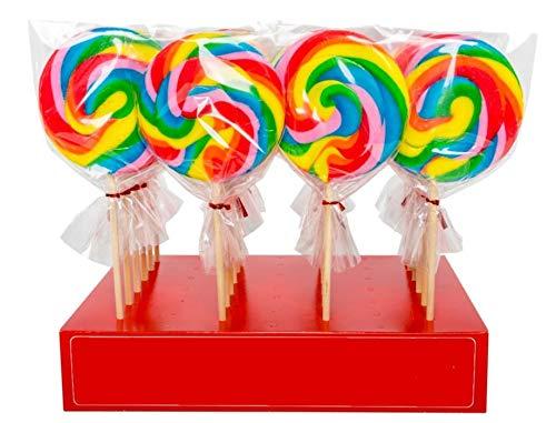 Lolly Maxi Spiral Lolly - Kiwi Geschmack - Grosser 125g Lutscher in coolen Regenbogenfarben - passend zu jedem Kindergeburtstag