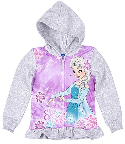 Disney Die Eiskönigin Elsa & Anna Mädchen Sweatjacke mit Kapuze - grau - 128