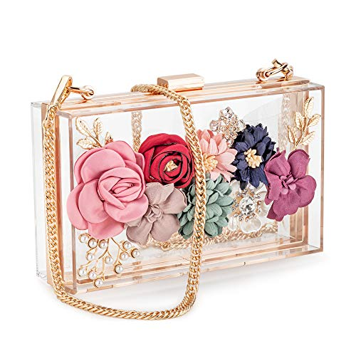 Candy and liu Women Acrylic Flower Clutches CrossbodyPurse Evening Bags Chain Strap For Wedding Prom Banquet Ideal-gift Gold, Medium