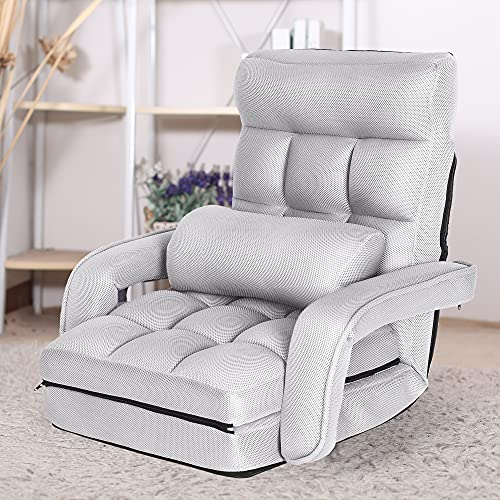 WAYTRIM Summer Indoor Chaise Lounge Sofa, Folding Lazy Sofa Floor Chair 6-Position Folding Padded, Lounger Bed with Armrests and a Pillow Chaise Couch - Mesh Cloth Gray
