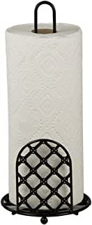 Home Basics Lattice Elegant Paper Towel Holder and Organizer Stand, Kitchen Countertop, Black
