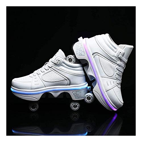 YXIAOL Zapatos para Caminar Patines Ruedas Invisibles 2 En 1 Patines De Ruedas Extraíbles Deformación Ruedas Doble Fila Batería De Litio Recargable Incorporada con Luces 7 Colores,EU 39/UK5.5