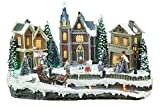 Top Treasures Large Snow Village Lighted Resin Christmas Houses with 4 Moving Skaters   Perfect Addition to Your Christmas Indoor Decorations & Christmas Village Displays