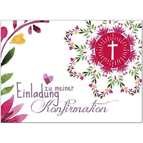 15 x Einladungskarten Konfirmation mit Umschlag/Gemalte Blüten Aquarell mit Text/Konfirmationskarten/Einladungen zur Feier