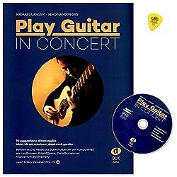 Play Guitar In Concert - Sélection de 70 solos de guitare - Niveau de difficulté : faible à modéré, ordre didactique - Livre de partitions avec CD et médiator Dunlop