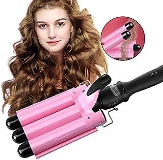 Hair Curling Iron,3 Barrel Hair Curler Waver,Fast Heating Triple Barrel Hair Curling Iron, Tourmaline Ceramic Waver Iron for Long Short Hair (Pink)