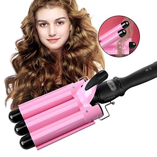 3 Barrel Hair Curling Iron,3 Barrel Hair Curler Waver,Fast Heating Triple Barrel Hair Curling Iron, Tourmaline Ceramic Waver Iron for Long Short Hair (Pink)