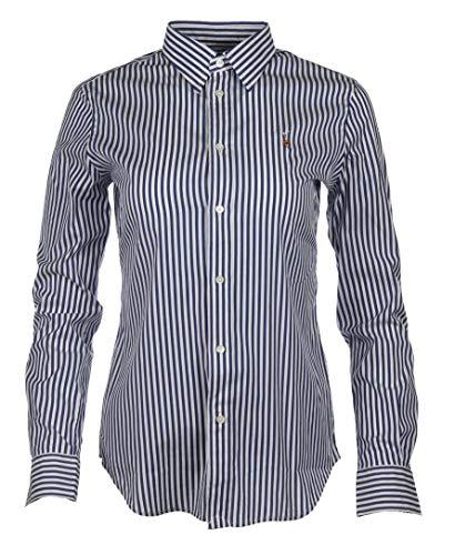 Ralph Lauren Damen Slim Fit Bluse - Pink, Navy, Weiß, Blau gestreift (Dunkelblau, XS)