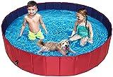BingoPaw Piscina Perros Grandes, Piscina para Perros Plegable XXL Bañera Infantil PVC Antideslizante y Resistente al Desgaste con válvura para Interior Exterior 160x30 cm Color Rojo